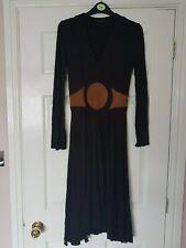 LADIES NOUGAT DARK BROWN LONG SLEEVE V NECK STRETCH CALF LENGTH DRESS SIZE 1