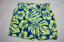 Baby Boys Swim Trunks Tropical Plants Hibiscus Flower Blue Neon Green 6-9 Mo