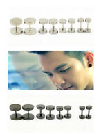2 PCS Retro Men Barbell Punk Unique Gothic Stainless Steel Ear Studs Earrings