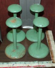 vintage hat stand green wig green lot store display lot of 4 antique wood lot 4