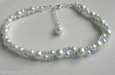 Blue white glass pearl stretch anklet ankle bracelet bridal prom something blue