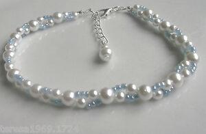 Blue white glass pearl stretch anklet ankle bracelet bridal prom something blue