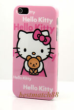 for iphone 5 5s hell kitty pink w/ bow & teddy bear hard case +screen protector
