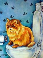 chinchilla cat persian bathroom art print picture 8x10 impressionism artist sign