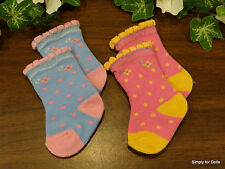 "**SALE** Set 2 PINK & BLUE Scalloped Edge DOLL SOCKS fit 15"" & 18"" AMERICAN GIRL"