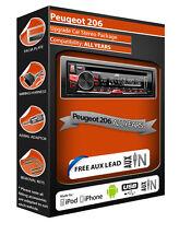 Peugeot 206 CD player radio Plays iPod iPhone USB stick car stereo
