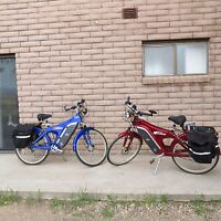 EVG eBIKE ELECTRIC 24 VOLT POWER BIKE BICYCLE BICYCLES - RED AND BLUE W/ EXTRAS