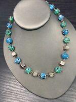 "Blue Aqua Green Bohemian multicolor glass Wedding Cake  Beaded Necklace 18"""