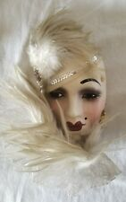 Studio Originals Lady Face Mask w/ hat Hanging Wall Decor Feathers Large Pink