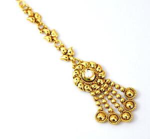 Indian Fashion Bollywood Women Gold Tone Mang Tikka Kundan Jewelry