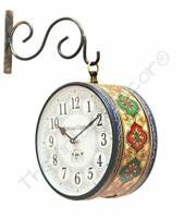 Vintage Clock Iron Double Side Railway Style Clock with English 6 &freeShipping