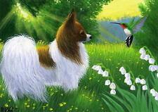 Papillon dog hummingbird summer flowers landscape limited edition aceo print art