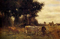 "Art Oil painting Grazing cattle cows in sunset landscape forest canvas 24""x36"""