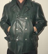 Man's Police Officer German Military Leather Coat Jacket 50 / UK 40 / Medium