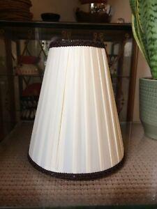 Vintage Mid Century Ivory Cream Pleated Fabric Lampshade Light Shade