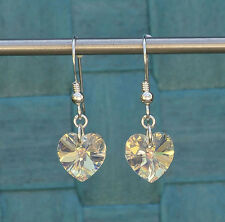 925 Sterling Silver Drop Earrings with Swarovski Elements Clear AB Crystal Heart