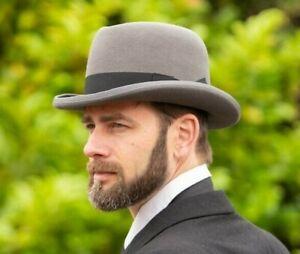Brand New Men's Classic Grey Wool Traditional Homburg Winston Churchill Hat