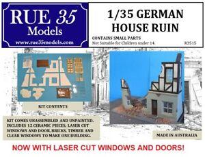 1/35 Rue35 German House Ruin with Laser Cut Windows Diorama Accessory