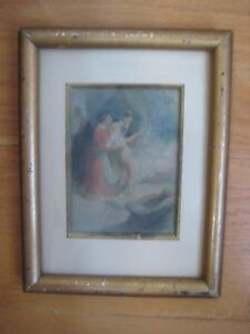 ANTIQUE FRAMED FRENCH MINIATURE INTERIOR NUDE FRANCOIS THEVENOT LISTED VINTAGE