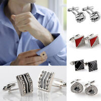 Men's  Crystal Cufflinks Gold Silver Shirt Cuff Links Wedding Trend Party Office