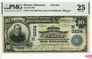 Winona, Minnesota  The First NB  CH# 3224  $10 1902 DB  PMG 25