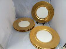 "SET 8    Gold Encrusted DINNER CHARGER PLATES 10 7/8 "" BOHEMIA CZECHOSLOVAKIA"