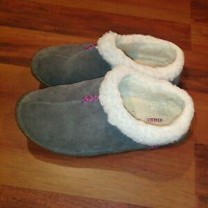 Sorel Nakiska Womens Slide On Winter Slippers Gray Suede Lamb Fur Lined Size 6