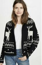 The Great Lodge Reindeer Cardigan black ivory  women's size 3 (M/L)  NWOT