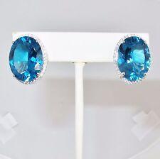 Big 14K White Gold Omega Earrings with 20mm Blue Topaz & Diamonds  (14.5 grams)