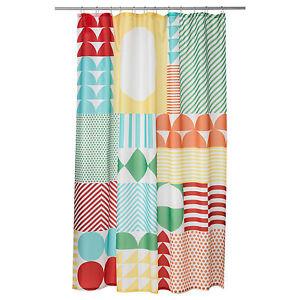 Ikea Brand Multi Colourful 100% Polyester Shower Curtain for Bathroom Bathtub