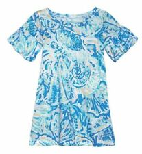 New Lilly Pulitzer GIRLS MINI LINDELL DRESS Bennet Blue Salty Seas White L 8 10