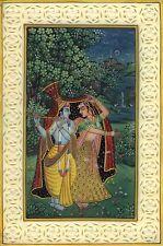 Krishna Radha Decor Folk Painting Handmade Indian Ethnic Miniature Hindu Art