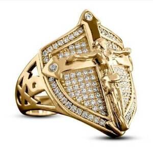 Gold Men Rings Christian Jesus Cross Jewelry Shield Shape Hip Hop Men Punk Ring