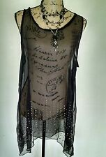 New Pretty Angel Black Sheer Studded Tunic Blouse Coverup Size Small Edgy Rock