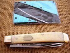 FIGHT'N ROOSTER FRANK BUSTER STAGTRAPPER FOLDING POCKET KNIFEW/CREDIT CARD KNIFE