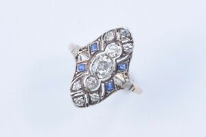 Vintage 14K Gold Art-Deco Old Mine Cut Diamond & Sapphire Ring