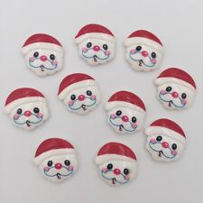 DIY 10pcs Resin hand painting Santa Claus  Flatback Wedding Christmas buttons
