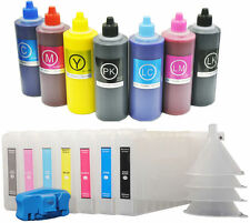 7 Refillable Cartridge+7x500 UltroChrome K3 Compatible Ink for Epson 7600/9600