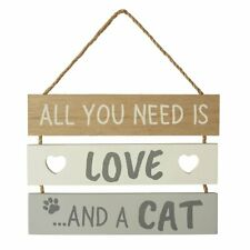 RUSTIC ALL YOU NEED IS LOVE AND A CAT WOODEN SLATTED SIGN | PLAQUE | HOME DECOR