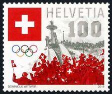 2018 Switzerland, Winter Olympic, Korea, Pyeongchang, ski jump, stamp, MNH