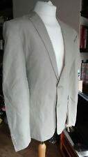 Mens 100% Linen Blazer Size 44R Chest Lightweight Summer Jacket Beige Jeff Banks