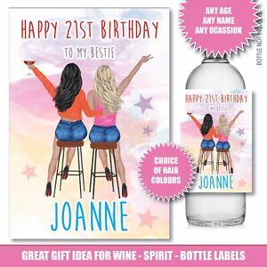 Personalised Birthday Bottle label Gin Wine Vodka Best Friend 40th 50th Age 171