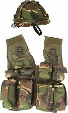 KIDS CHILDREN'S ARMY SOLDIER CAMO HELMET & ASSAULT VEST SET OUTFIT FANCY DRESS
