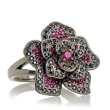 "JEAN DOUSSET ABSOLUTE AND CREATED RUBY ""FLOWER"" STERLING SILVER RING 7 HSN"