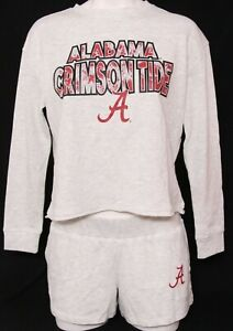 NEW Alabama Crimson Roll Tide Concepts Sport LS Crop Shorts Outfit Women's M