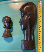 Pair Vintage Hand carved wood EBONY African bust sculpture Rare