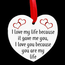 Heart Shaped Metal Hanging Plaque Valentine Love My Life Couple Anniversary Gift