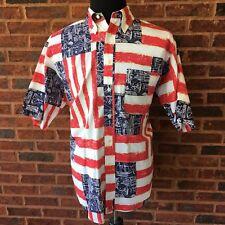 Nautica USA Flag Sailing Button Front SS Shirt Sz L Cotton July 4th