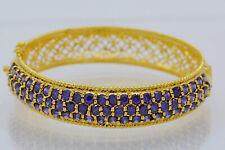 Amethyst Purple Cubic Zirconia 18k 22k 24k Yellow Gold Plated Bangle Jewelry