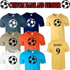 Personalised Mens Football T Shirt Custom Name Number Girls Boys Soccer Team Tee